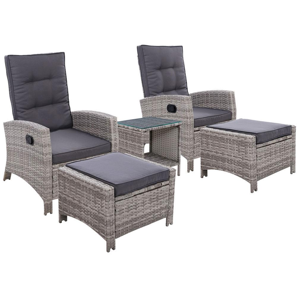 Gardeon Outdoor Patio Furniture Recliner Chairs Table Setting Wicker Lounge 5pc Grey - Pizzazz Hub