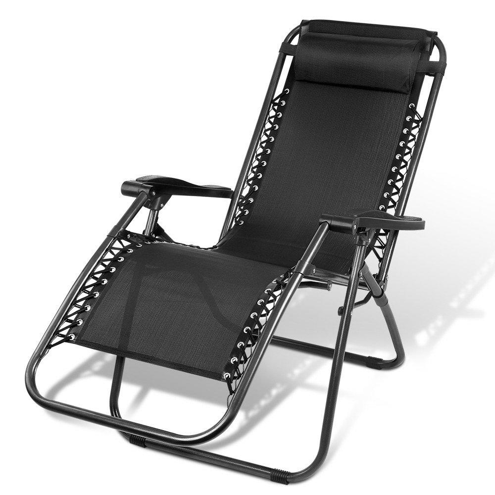 Gardeon Outdoor Portable Recliner - Black - Pizzazz Hub