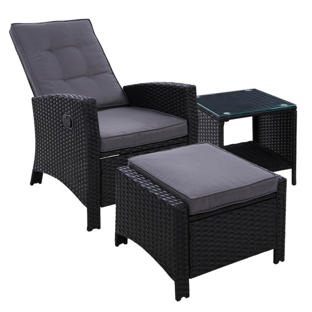 Gardeon Outdoor Setting Recliner Chair Table Set Wicker lounge Patio Furniture Black - Pizzazz Hub
