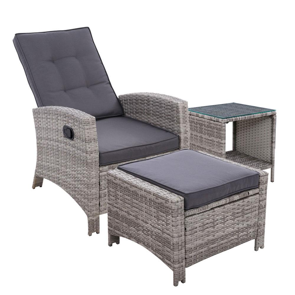 Gardeon Outdoor Setting Recliner Chair Table Set Wicker lounge Patio Furniture Grey - Pizzazz Hub