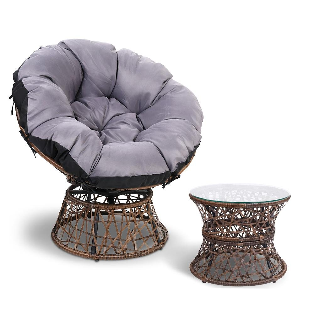 Gardeon Papasan Chair and Side Table - Brown - Pizzazz Hub