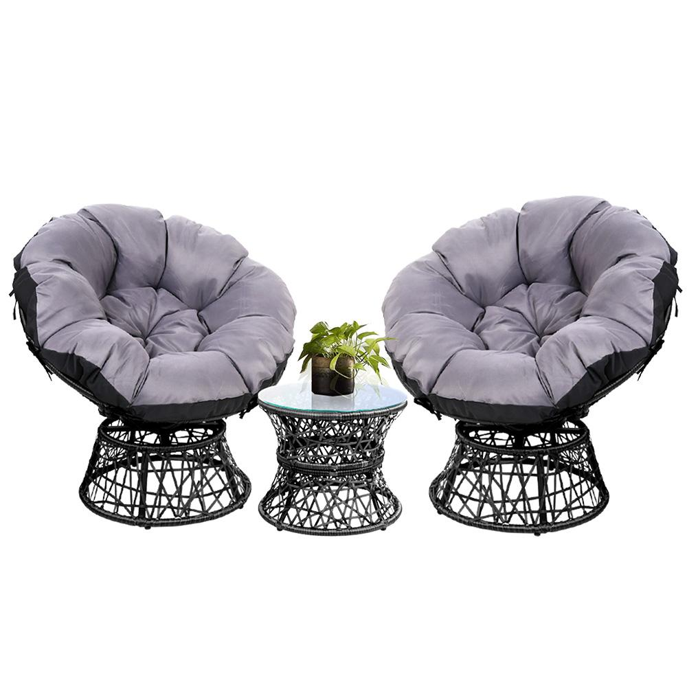 Gardeon Papasan Chair and Side Table Set- Black - Pizzazz Hub