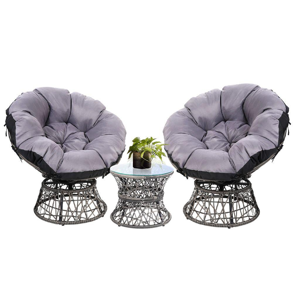 Gardeon Papasan Chair and Side Table Set- Grey - Pizzazz Hub