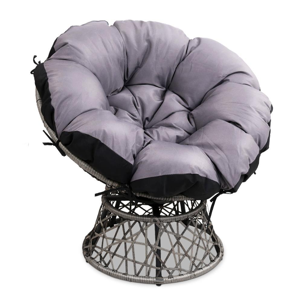 Gardeon Papasan Chair - Grey - Pizzazz Hub