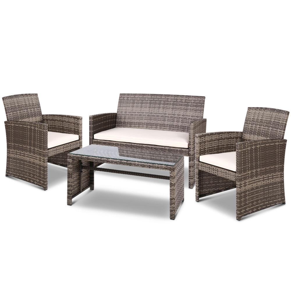 Gardeon Set of 4 Outdoor Rattan Chairs & Table - Grey - Pizzazz Hub