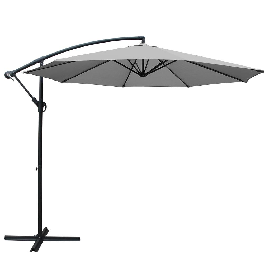 Instahut 3M Outdoor Furniture Garden Umbrella - Grey - Pizzazz Hub