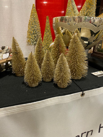 "Bottle Brush Tree 8 1/2"" gold"