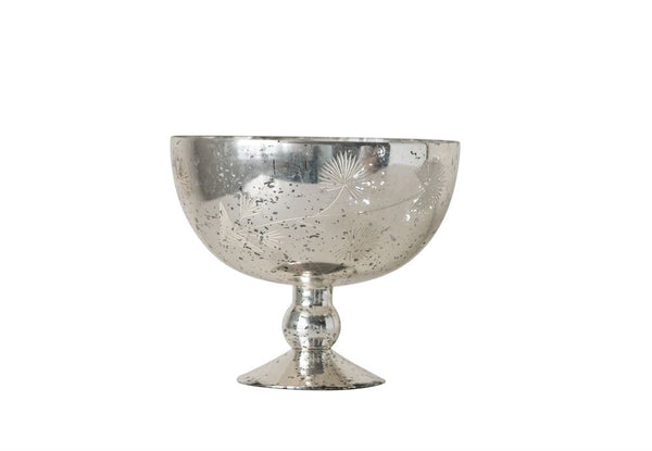 Bowl, Decorative Etched Mercury Glass Pedestal