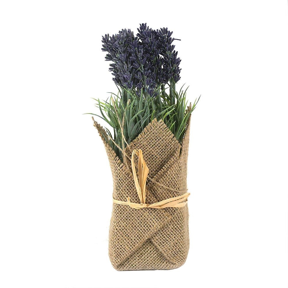 "9""H BURLAP WRAPPED ARTIFICAL LAVENDAR PLANT"