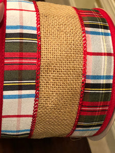 Ribbon - Christmas plaid and jute