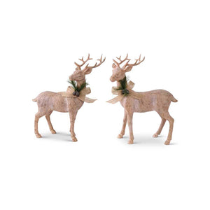 "Assorted 11"" Resin Natural Wood Reindeer"