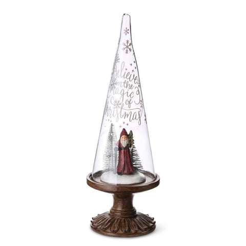 Christmas - Etched Glass Cone on Wooden Stand w/Santa