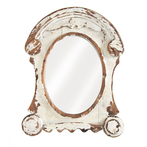 Mirror - Distressed White Wash Framed Oval Mirror