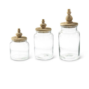 Set of 3 Glass Canisters w Wood Lids