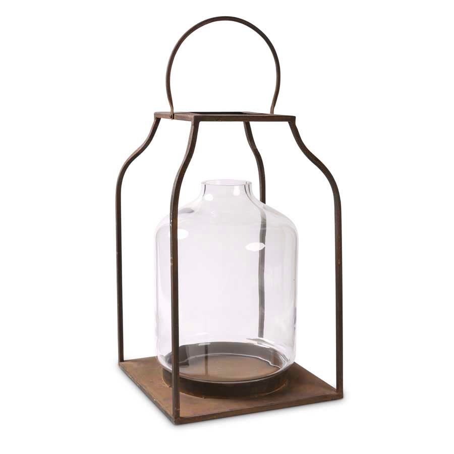 Lantern Bronze w/Glass Hurricane