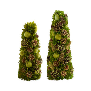 Green Apple & Pinecone Trees/Set of 2