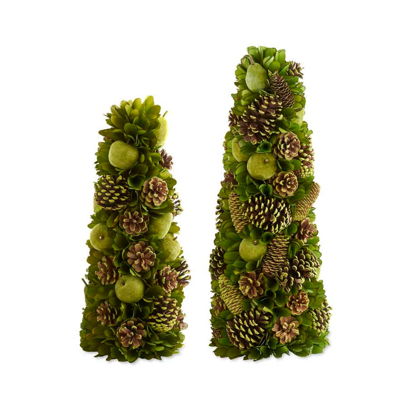 Set of 2 Green Apple & Pinecone Trees