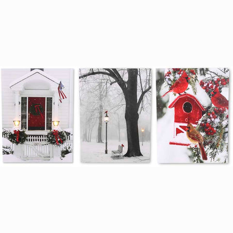 Christmas Canvas - Assorted Vertical Battery Op Winter Scenes