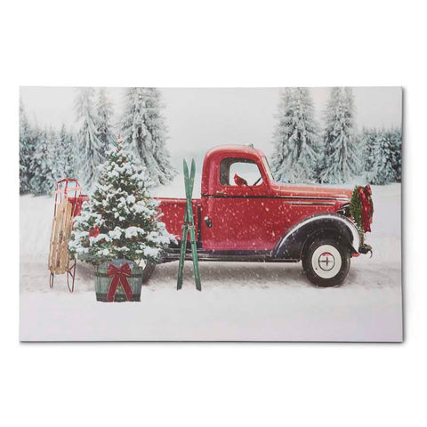 Christmas Canvas - LED Canvas Christmas Tree in Red Vintage Truck