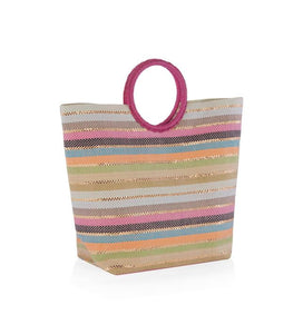 Purse - Summer Multi Colored Striped Tote