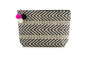 Shiloh Zip Two Toned Zipped Pouch with pom pom tassel, black.