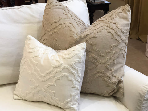 White Linen and Chenille Pillow