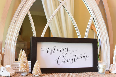 "Sign - Wooden Frame (Stained) and Natural Canvas Vintage ""Merry Christmas"" (Script)"