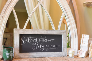 "Sign - Wooden Frame & Charcoal Canvas, Vintage ""Silent Night Holy Night"" (Script)"