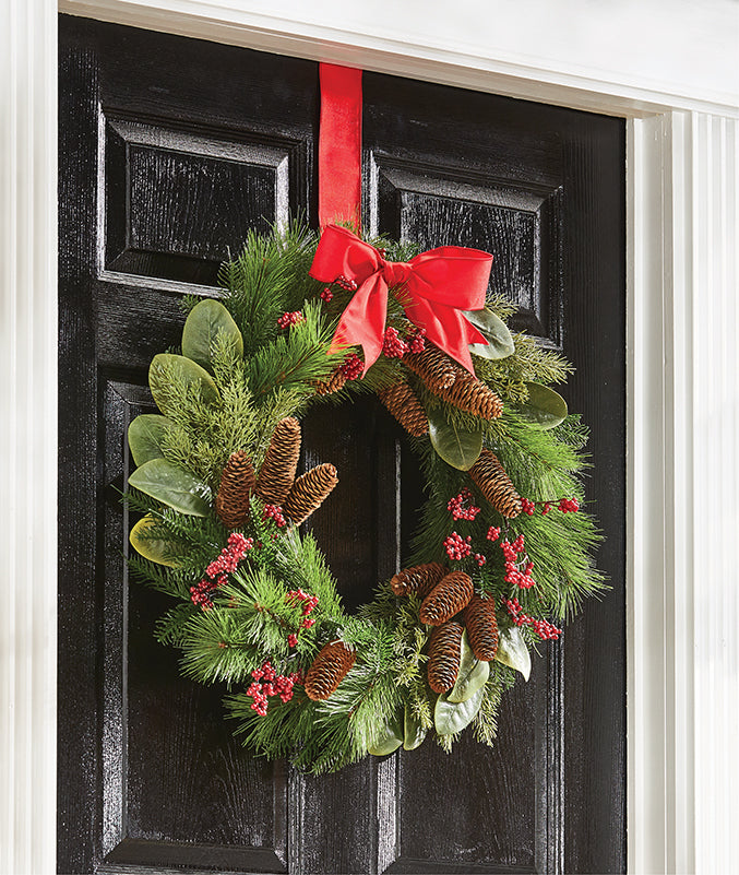 Mixed Wreath of Cedar, Pine and Magnolia