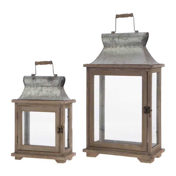 "Lantern - wood metal 23"" (set of 2)"