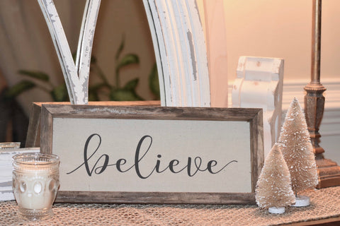 "Sign, Wooden and Canvas - Vintage ""Believe"" (Script)"