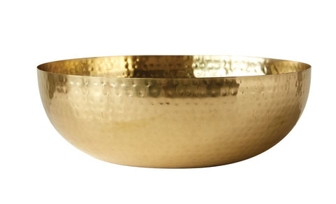 Home Accessories - Round Metal Bowl with Brass Finish