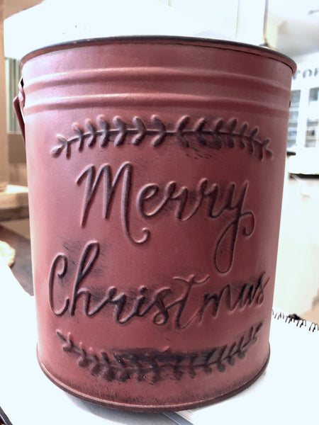 Galvanized Merry Christmas pail set of 3 in red.