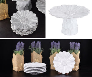 Plates - White Flower Terra Cotta