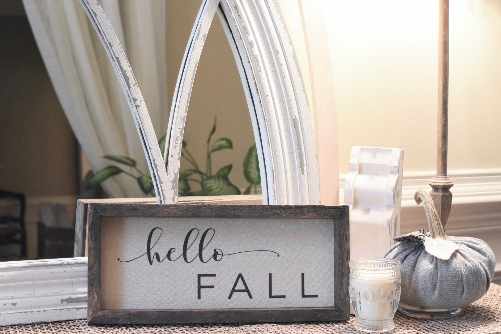 "Sign - Wooden Stained Frame and Natural Canvas Vintage ""Hello Fall"" (Script)"
