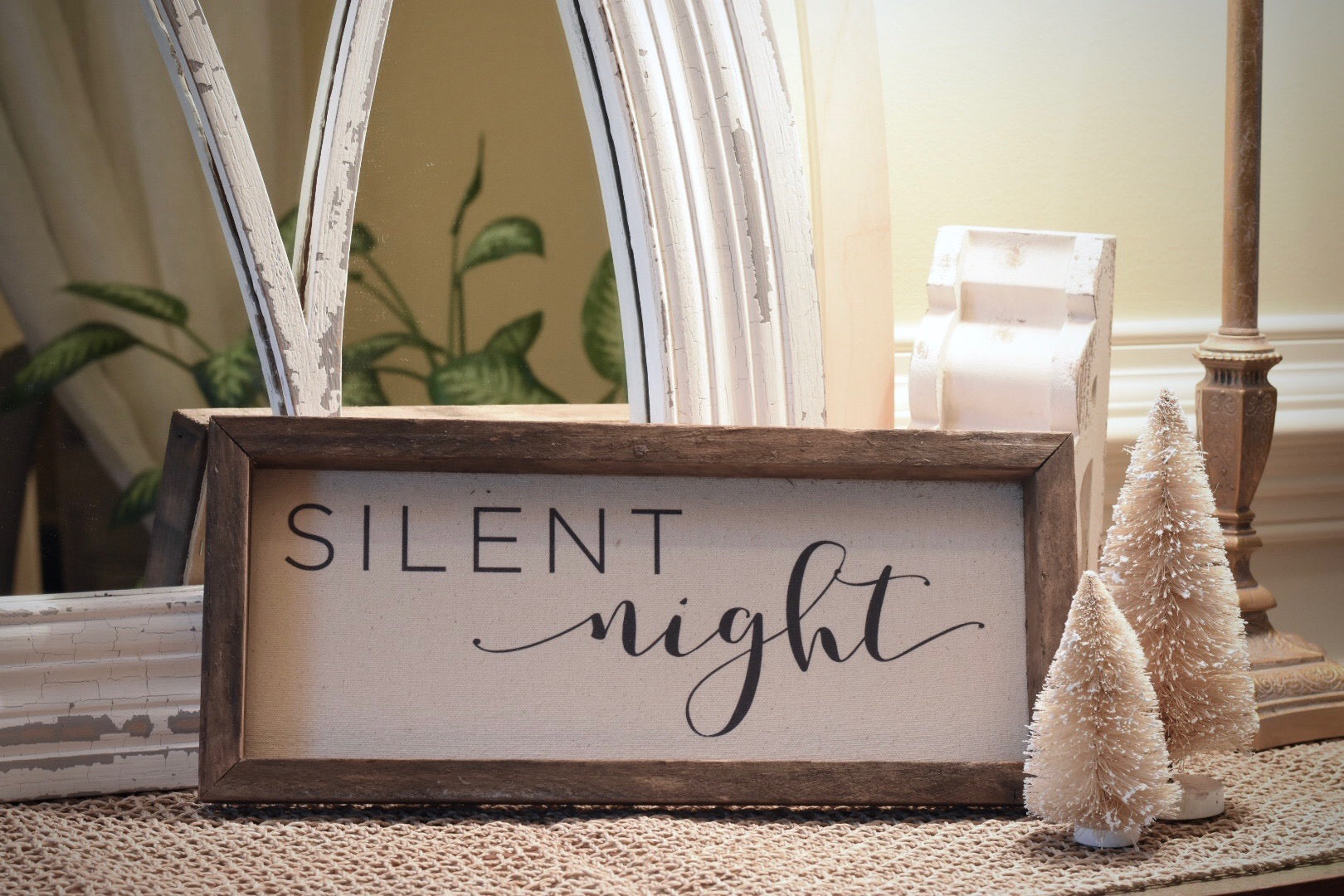 "Sign - Wooden Stained Frame & Natural Canvas, Vintage ""Silent Night"" (Script)"