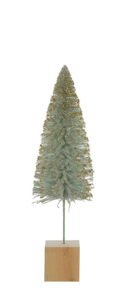 Christmas - Bottle Brush Tree w/MDF base, Aqua w/Gold Glitter