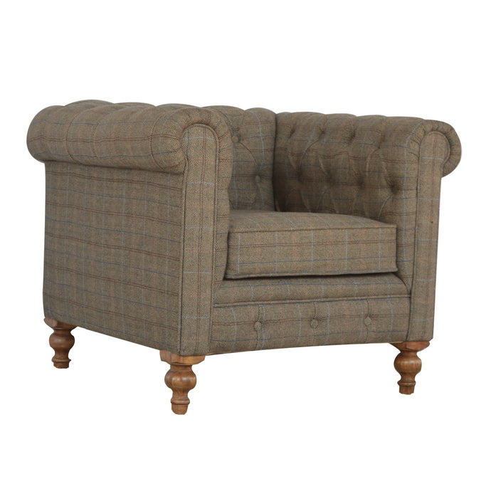 Tweed Chesterfield Armchair