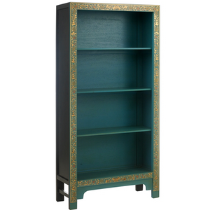 The Nine Schools Oriental Decorated Blue Bookcase