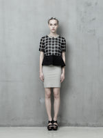 Monochrome Checkered Peplum