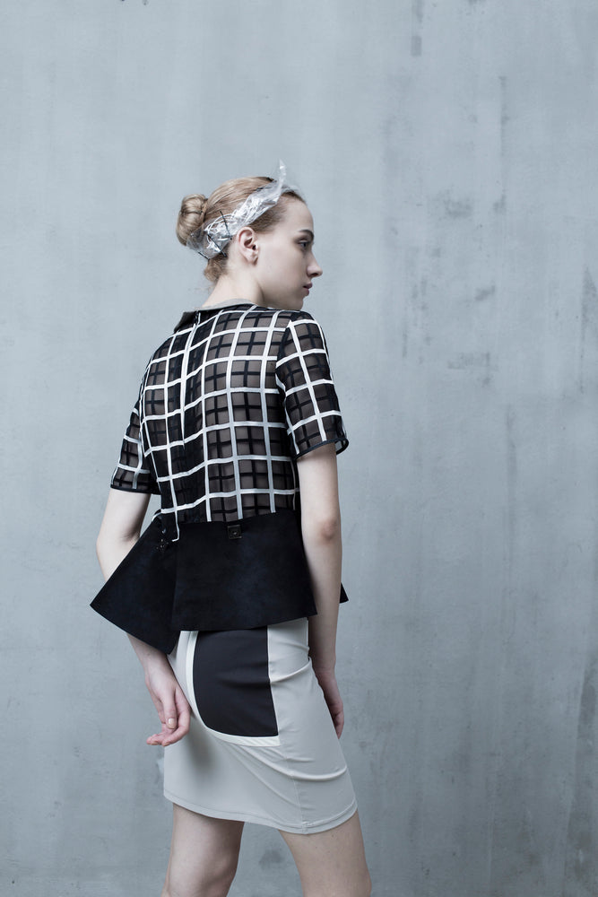 Monochrome Checkered Peplum - Tenos women