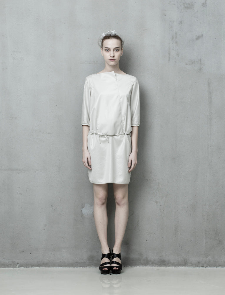 White blouson dress - Tenos women