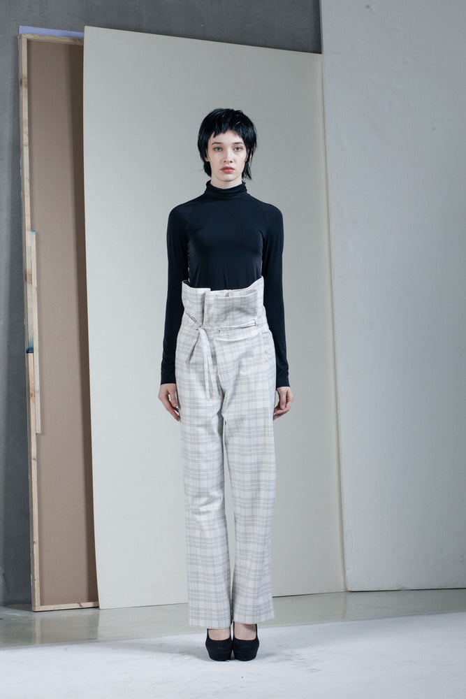 Checkered high waist pant
