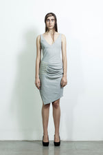 V neck dress with leather pleats