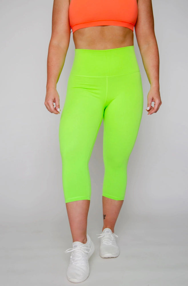 FINAL SALE! High-waist Classic Legging (NEON GREEN)