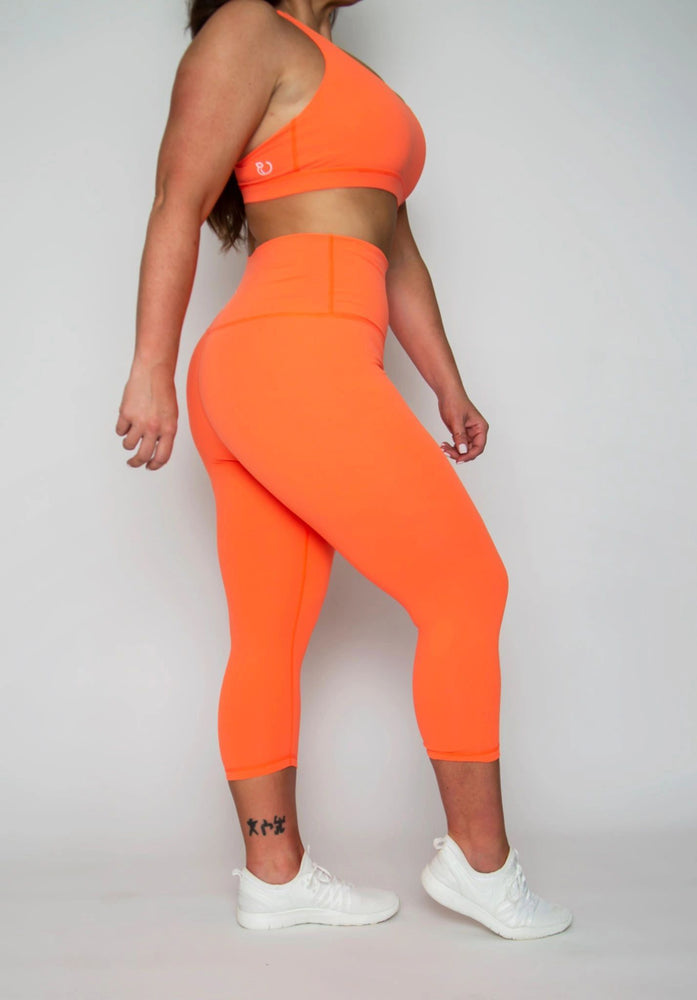 FINAL SALE ITEM:  High-wasit Classic Capri (NEON ORANGE)