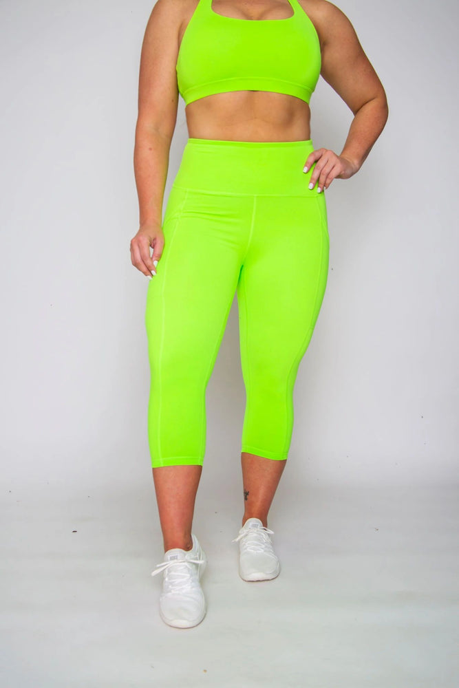 FINAL SALE! Scrunch High-waist Capris -- NEON GREEN