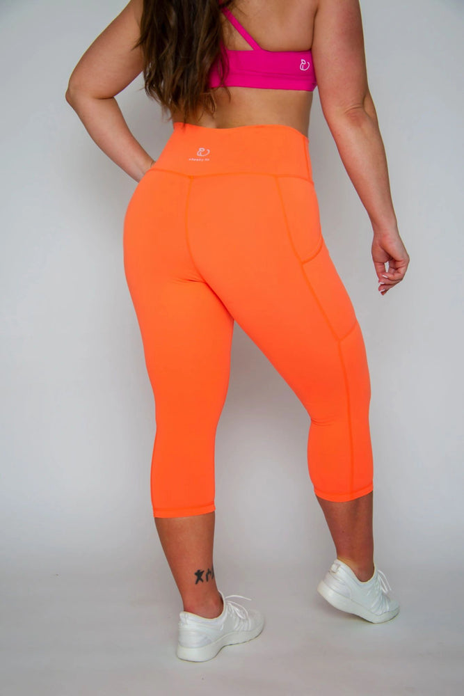 FINAL SALE! NEW DESIGN Classic High-waist Capri with Pockets -- NEON ORANGE
