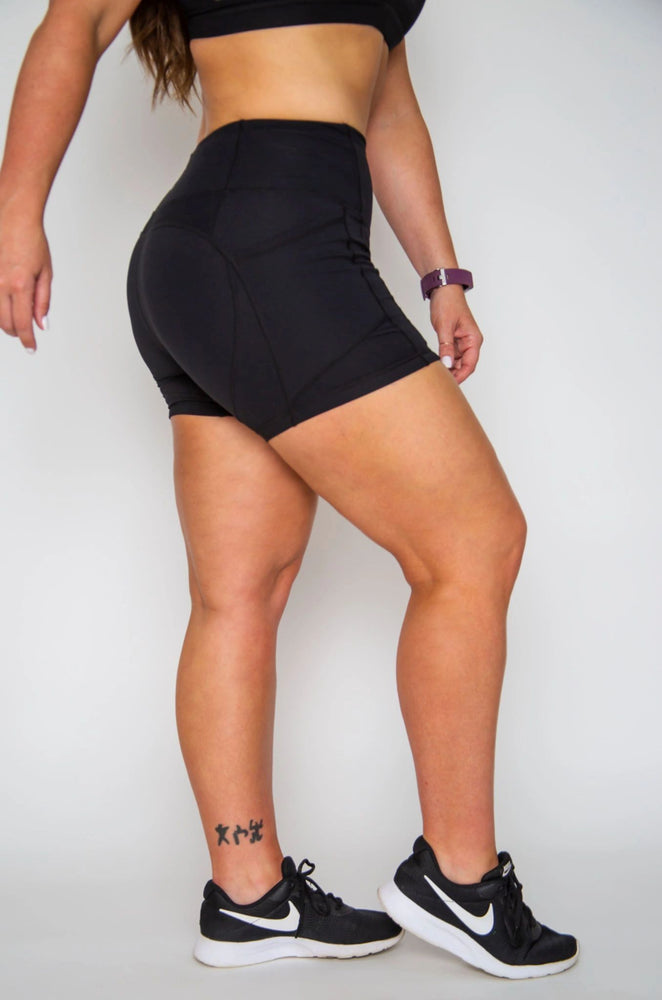 "4"" Black High-waist Shorts with Pockets"
