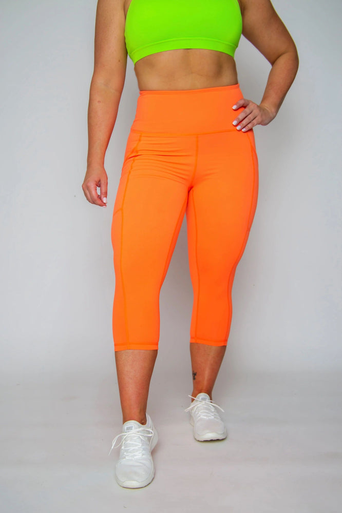 FINAL SALE! Scrunch High-waist Capris -- NEON ORANGE